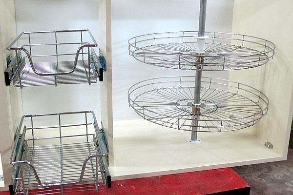 accesorios para bajo mesadas canastos extraibles giratorio y guias marca hafele
